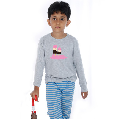 Grey Full Sleeve Boys Pyjama - Ice Cream